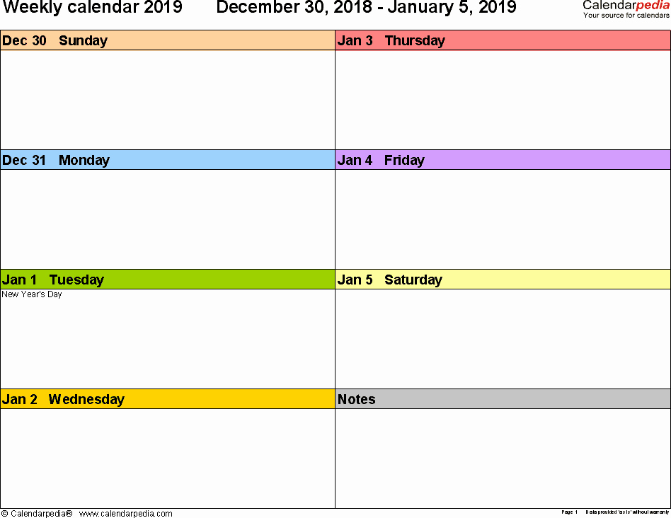 Free Printable Weekly Calendar 2019 New Weekly Calendar 2019 for Pdf 12 Free Printable Templates