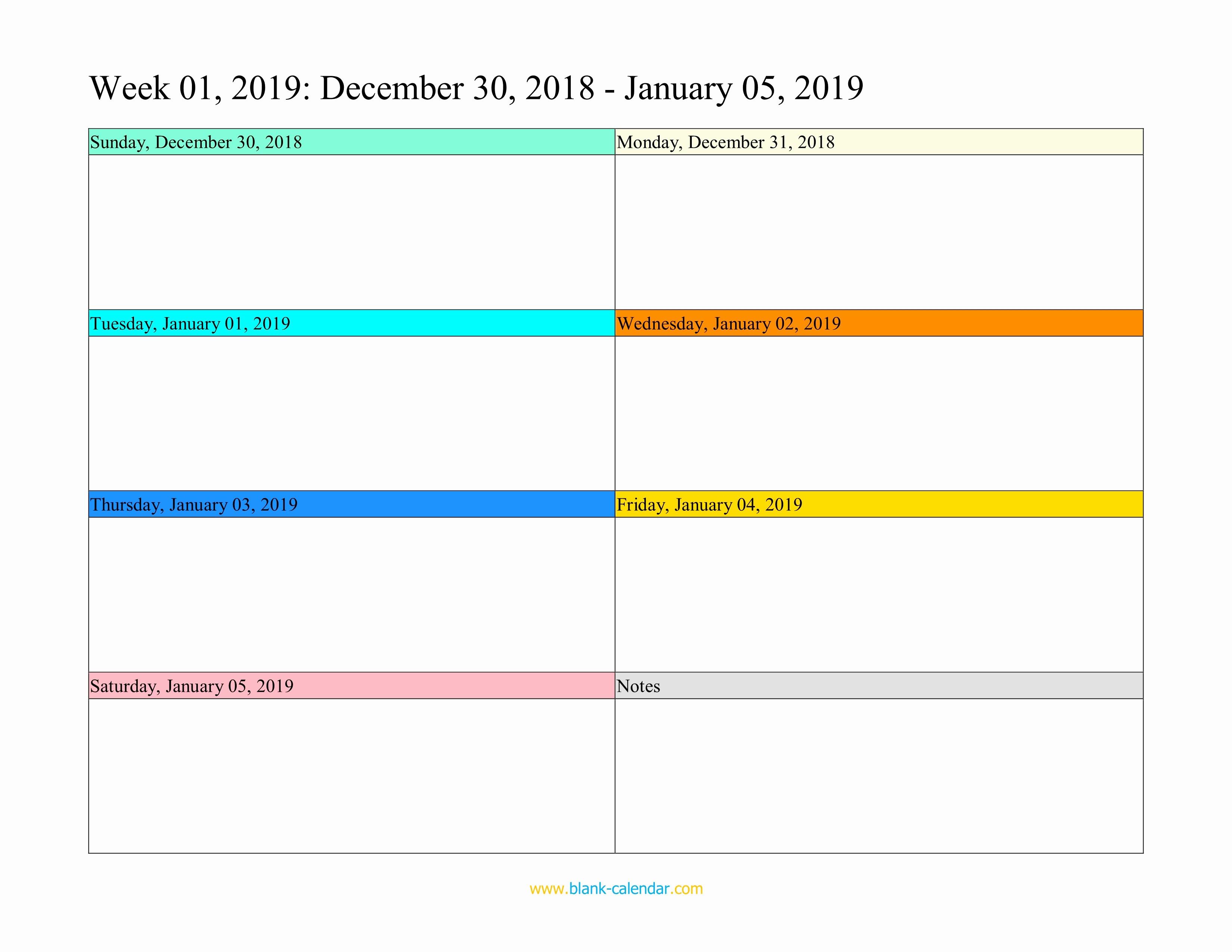Free Printable Weekly Calendar 2019 New Weekly Calendar 2019 Word Excel Pdf