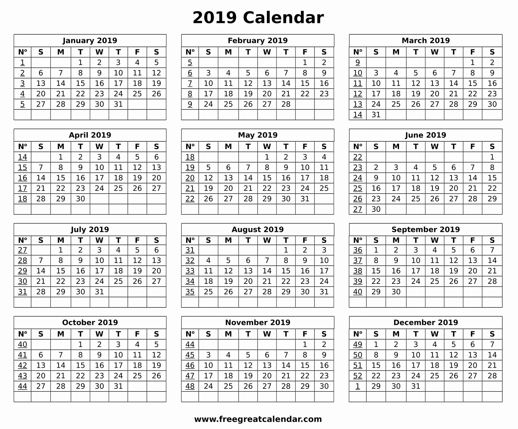Free Printable Weekly Calendar 2019 Unique Blank 2019 Calendar Printable