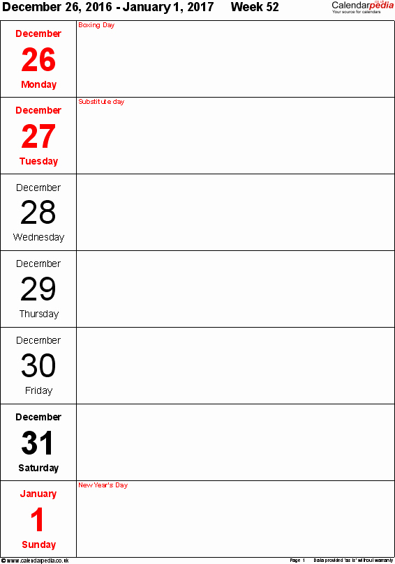 Free Printable Weekly Calendars 2017 Elegant Weekly Calendar 2017 Uk Free Printable Templates for Pdf