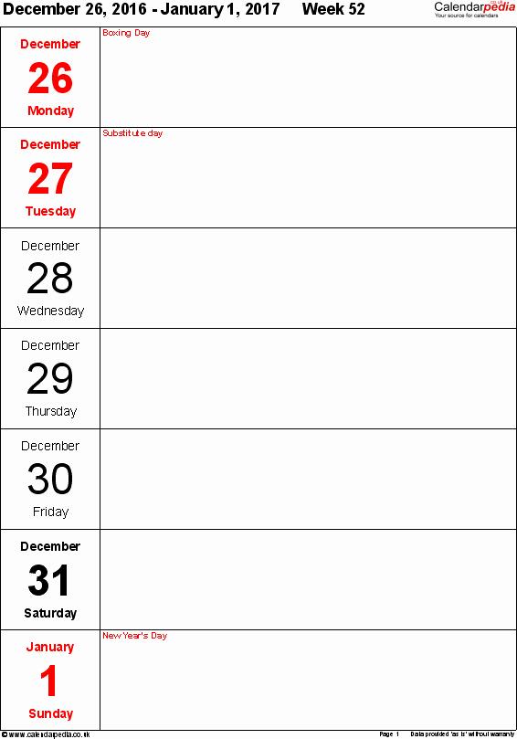 Free Printable Weekly Calendars 2017 Elegant Weekly Calendar 2017 Uk Free Printable Templates for Pdf