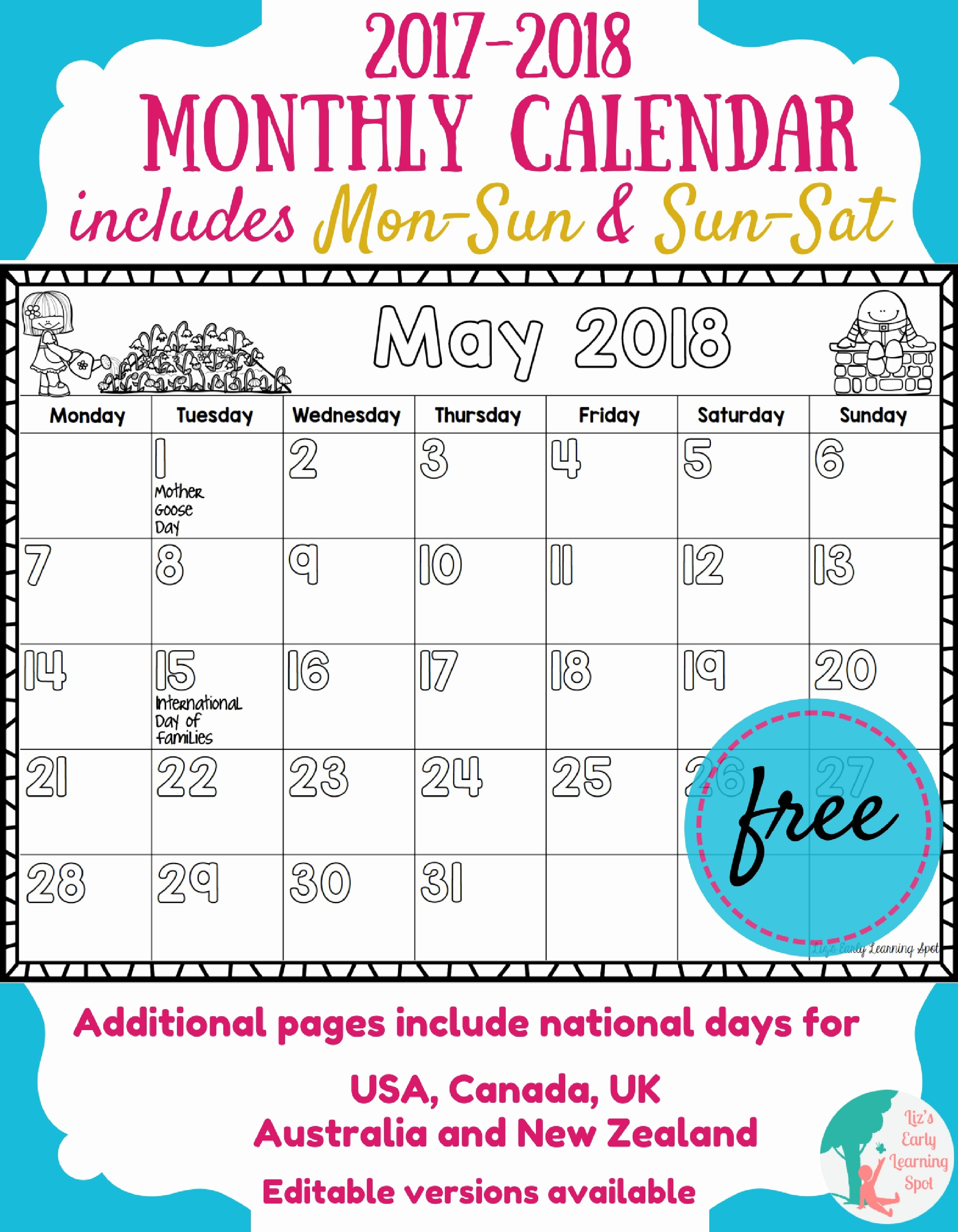 Free Printable Weekly Calendars 2017 Fresh Free 2017 2018 Monthly Calendar for Kids