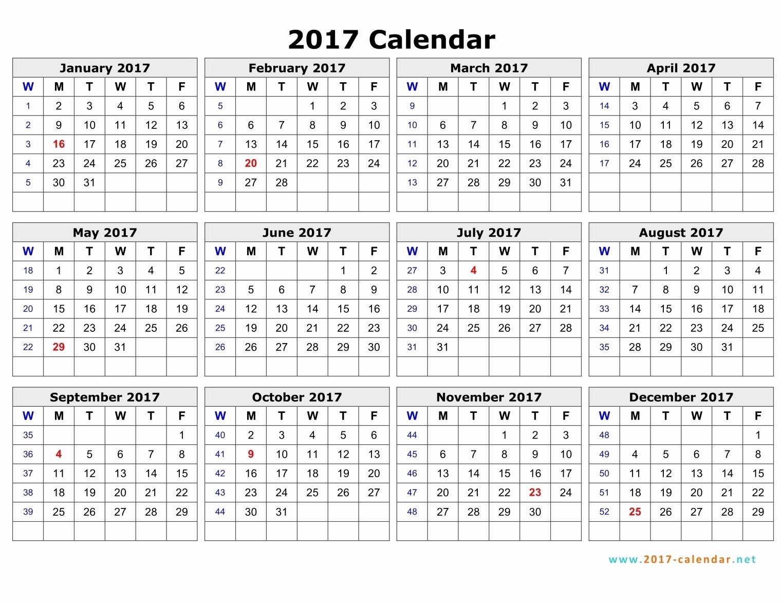 weekly number calendar 2017 1787