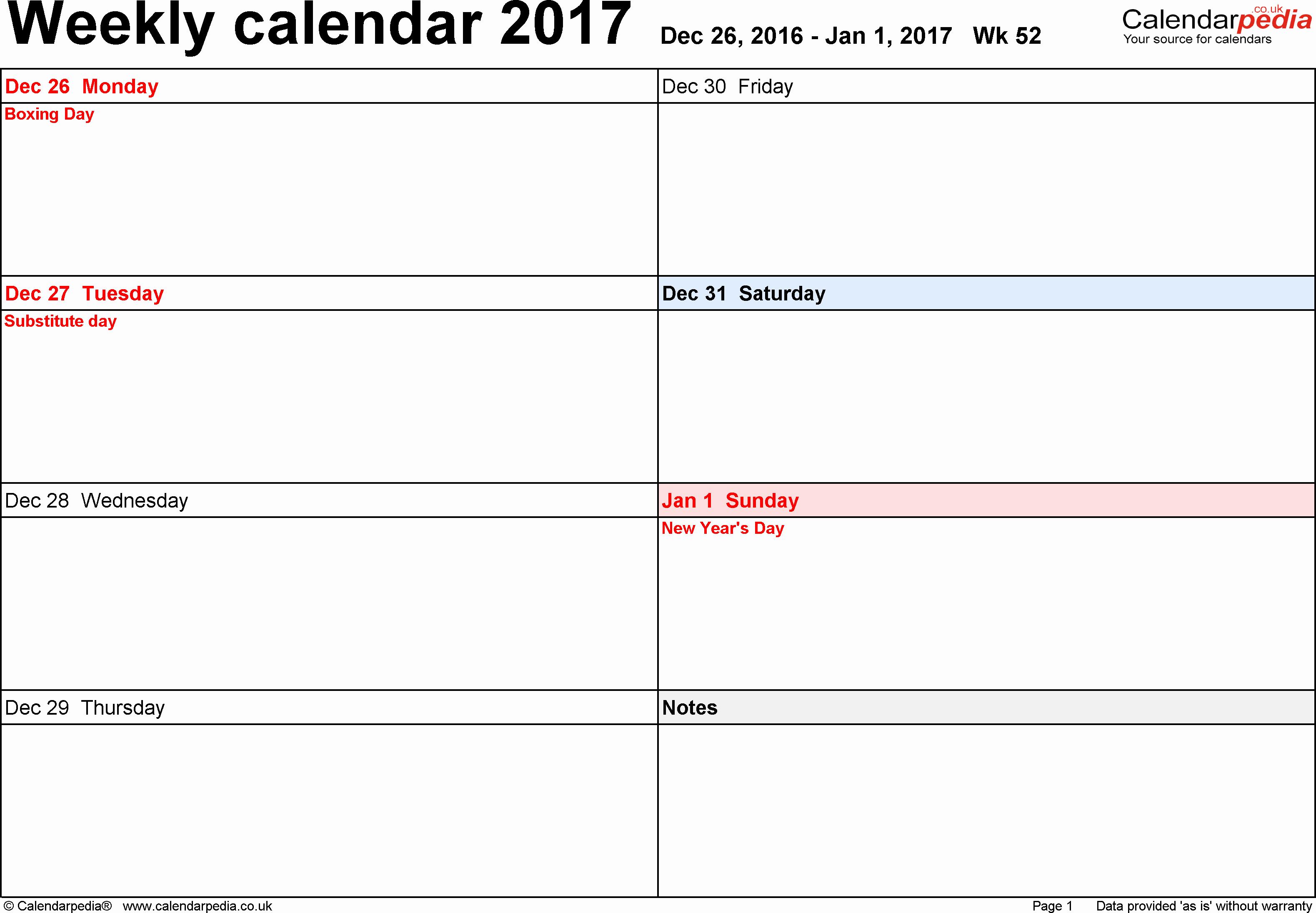 Free Printable Weekly Calendars 2017 New Weekly Calendar 2017