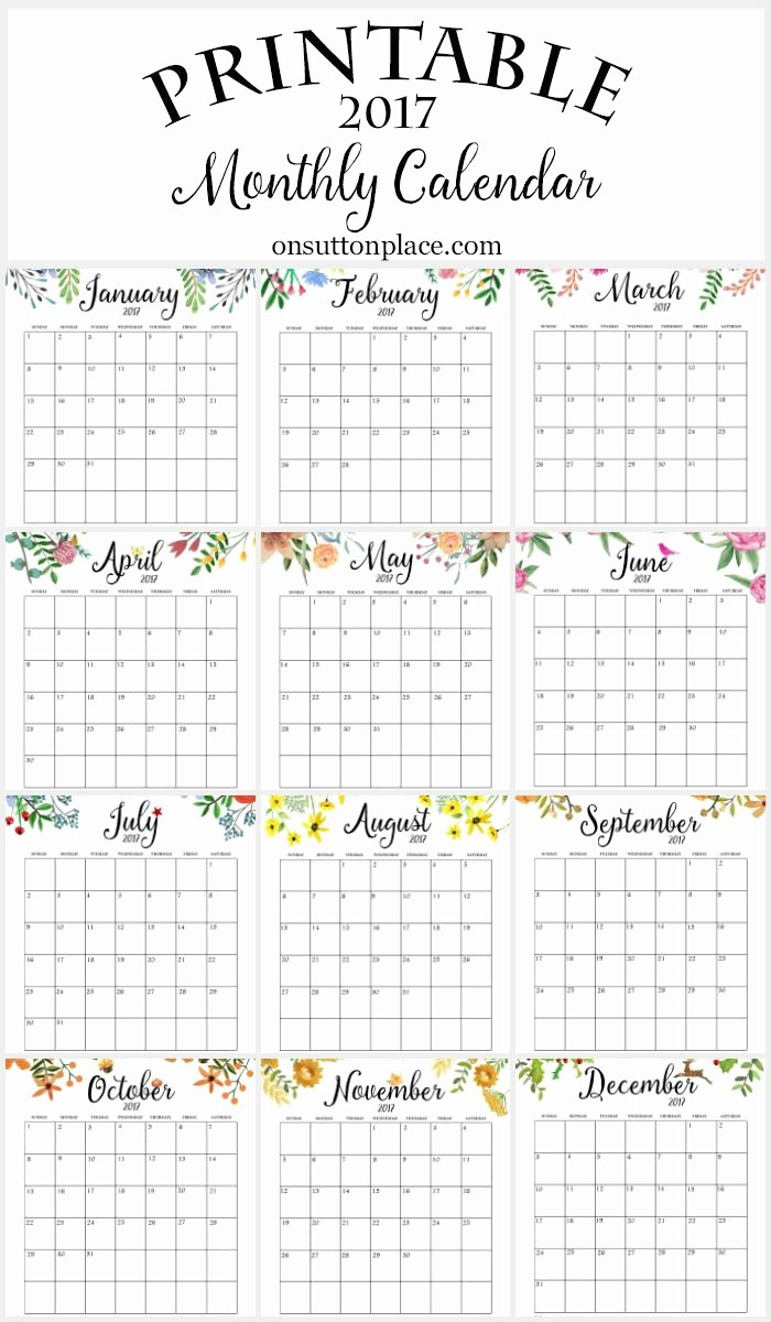 Free Printable Weekly Calendars 2017 Unique 2017 Free Printable Monthly Calendar