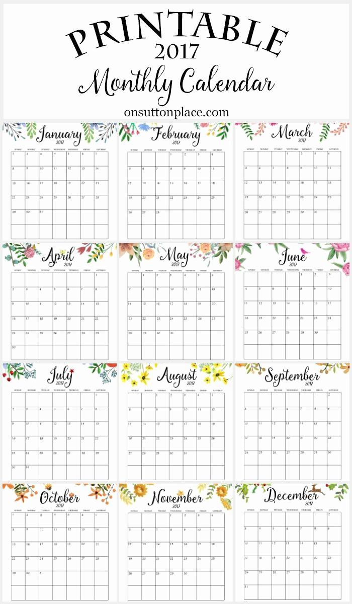 Free Printable Weekly Calendars 2017 Unique 2017 Free Printable Monthly Calendar
