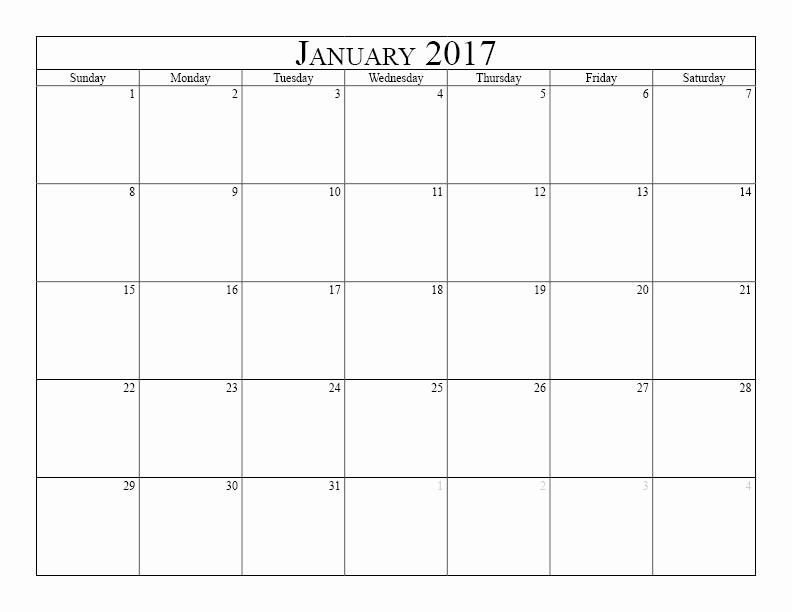 Free Printable Weekly Calendars 2017 Unique Blank Monthly Calendar 2017
