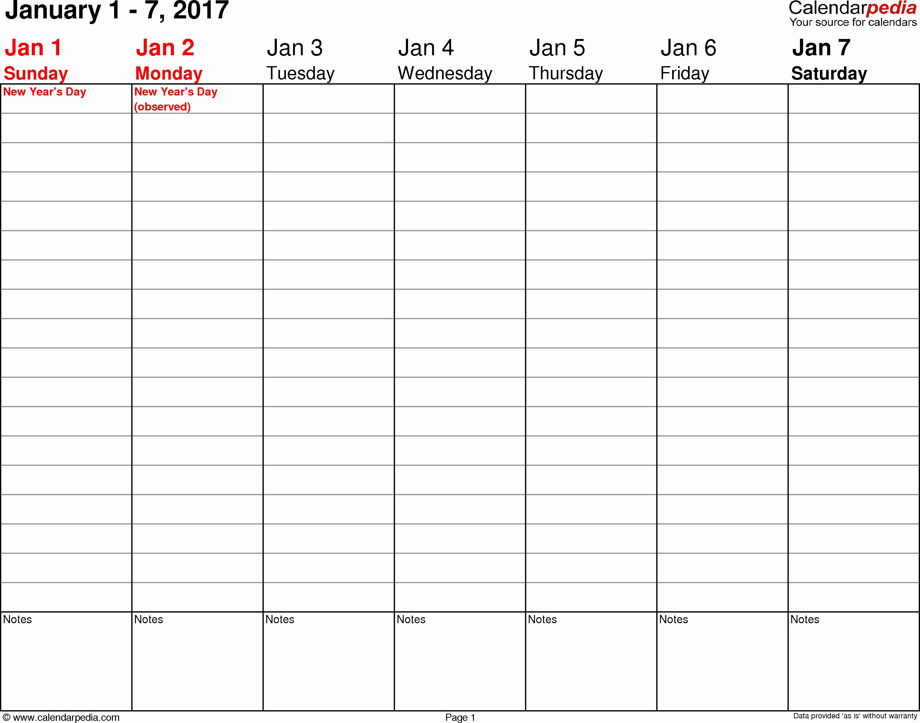 Free Printable Weekly Calendars 2017 Unique Weekly Calendar 2017 for Pdf 12 Free Printable Templates