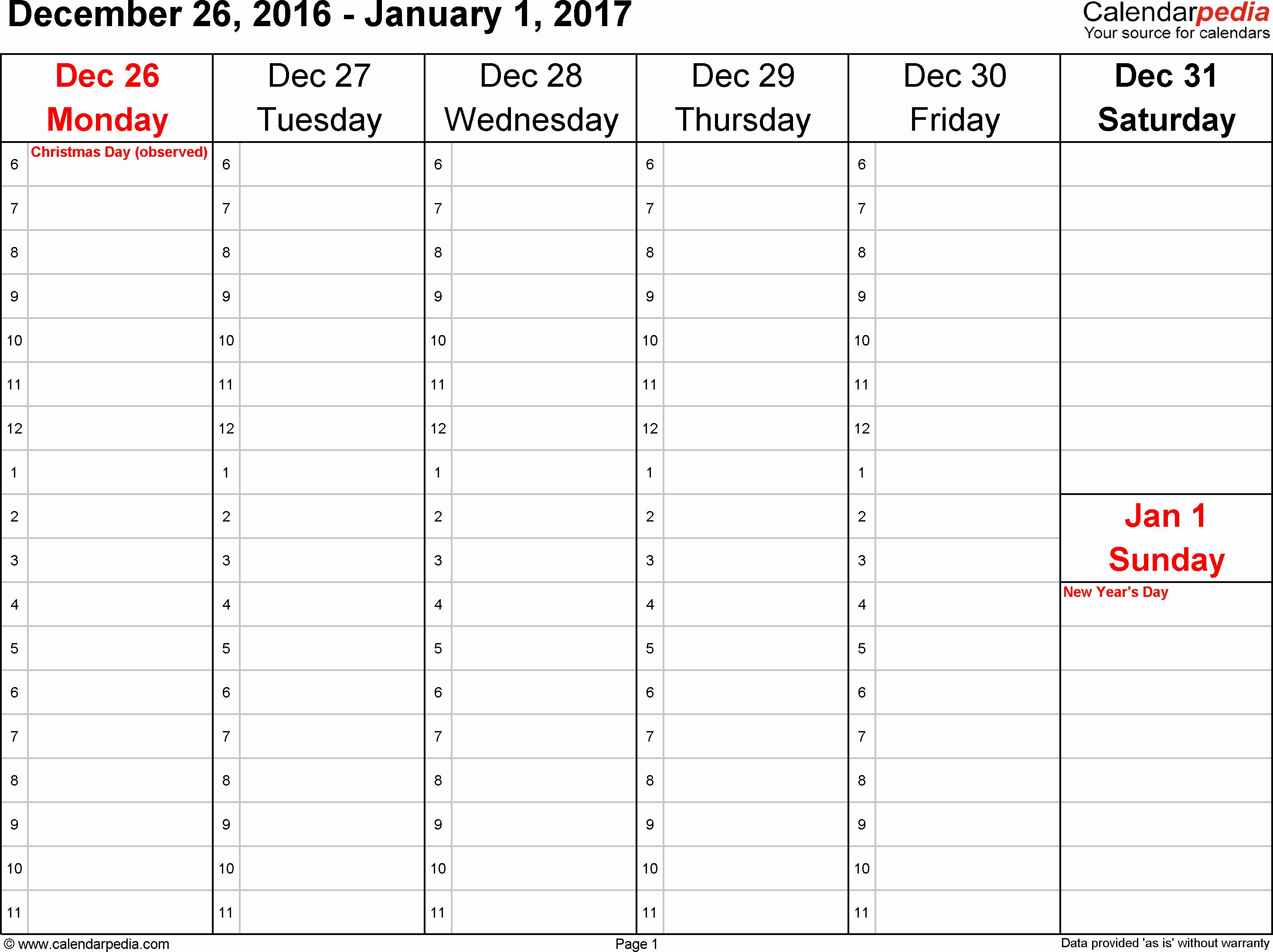 Free Printable Weekly Calendars 2017 Unique Weekly Calendar 2017 for Word 12 Free Printable Templates