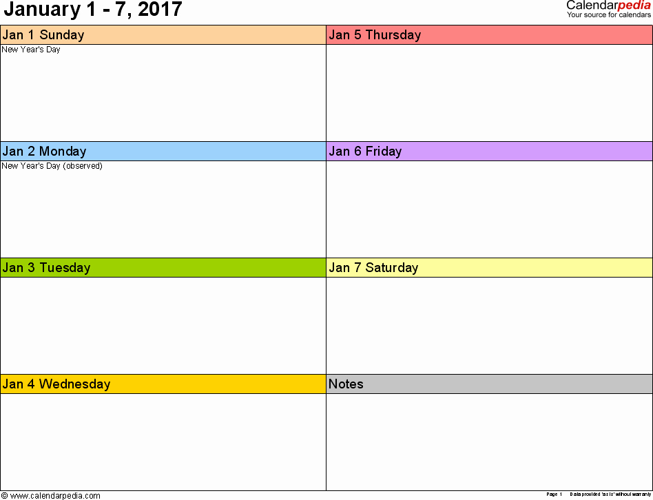 Free Printable Weekly Calendars 2017 Unique Weekly Calendar 2017 for Word 12 Free Printable Templates