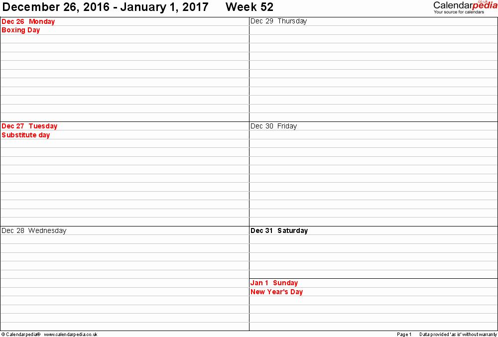 Free Printable Weekly Calendars 2017 Unique Weekly Calendar Template 2017