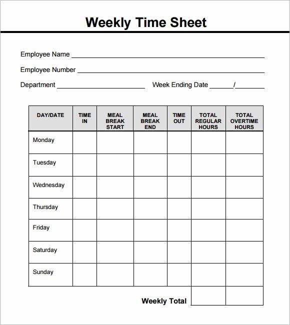 Free Printable Weekly Timesheet Template Awesome 15 Sample Weekly Timesheet Templates for Free Download