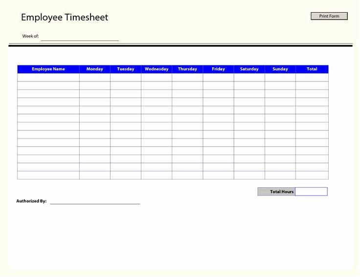 Free Printable Weekly Timesheet Template Elegant Printable Time Sheets