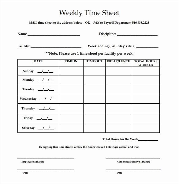 Free Printable Weekly Timesheet Template Fresh 22 Weekly Timesheet Templates – Free Sample Example