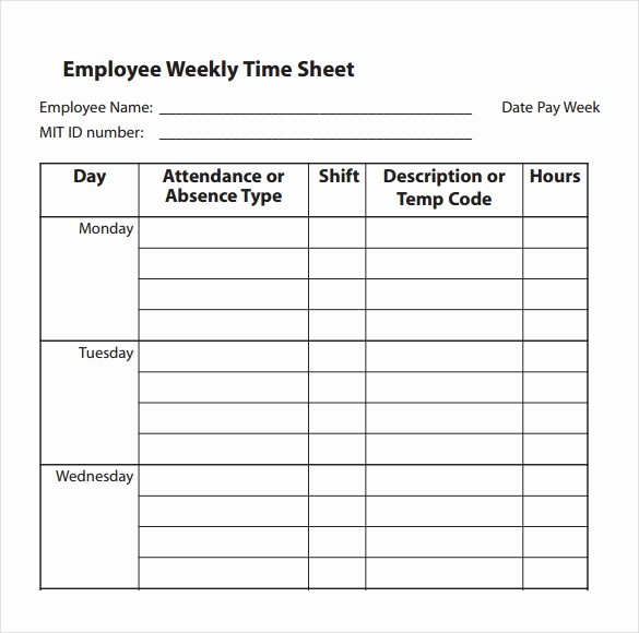 Free Printable Weekly Timesheet Template Lovely 31 Simple Timesheet Templates Doc Pdf