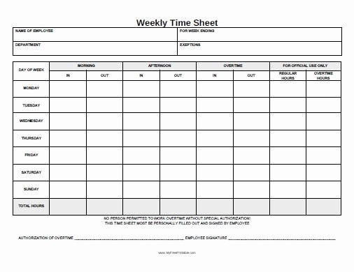 Free Printable Weekly Timesheet Template New Weekly Time Sheet form Free Printable Myfreeprintable