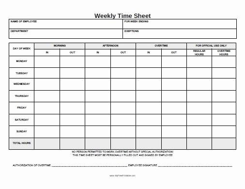 Free Printable Weekly Timesheet Template New Weekly Time Sheet form Free Printable Myfreeprintable