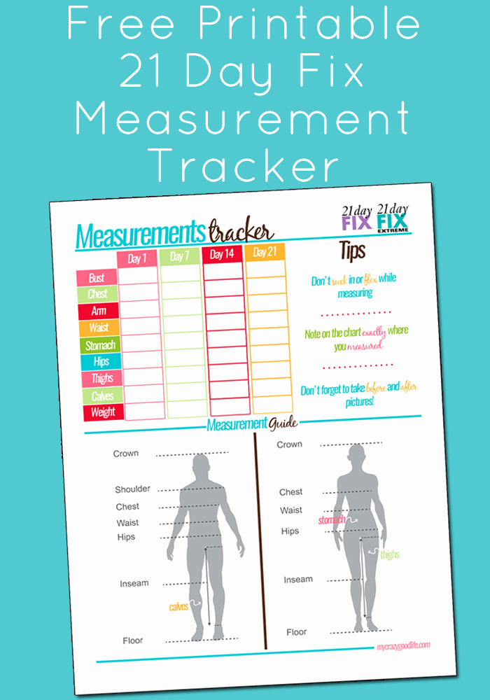 Free Printable Weight Loss Tracker Awesome Free Printable 21 Day Fix Measurement Tracker