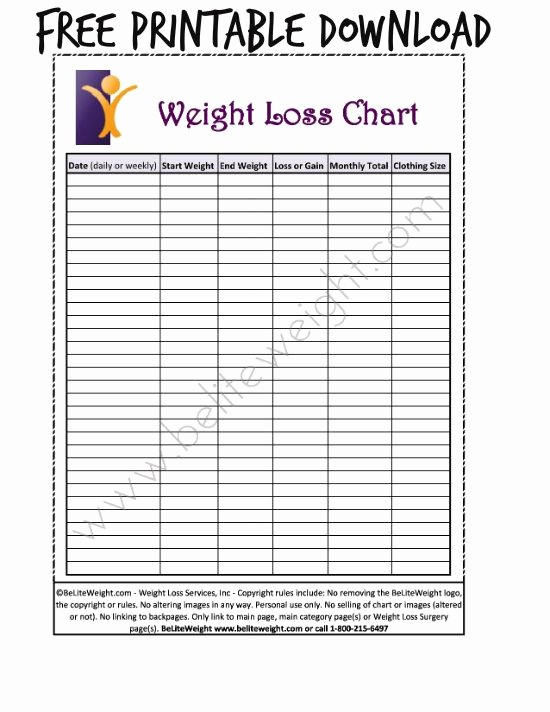 Free Printable Weight Loss Tracker Awesome Free Printable Weight Loss Chart Ideal Protein
