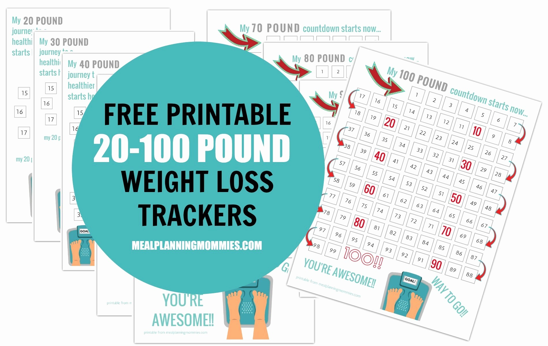Free Printable Weight Loss Tracker Best Of Free Printable 20 100 Pound Weight Loss Trackers Meal