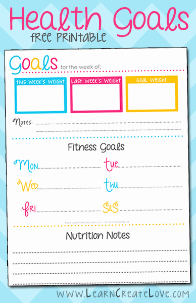 Free Printable Weight Loss Tracker Elegant Printable Health Goals Tracker