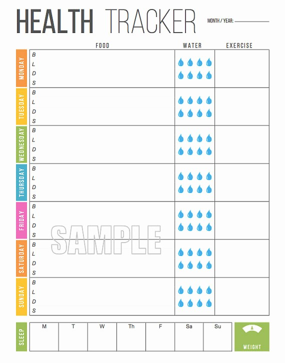 Free Printable Weight Loss Tracker Elegant Weekly Health Tracker Printable Food Tracker Weight