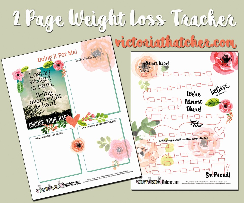 Free Printable Weight Loss Tracker Elegant Weight Loss Tracker Planner Printable Victoria thatcher