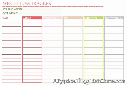 Free Printable Weight Loss Tracker Luxury A Typical English Home October 2012