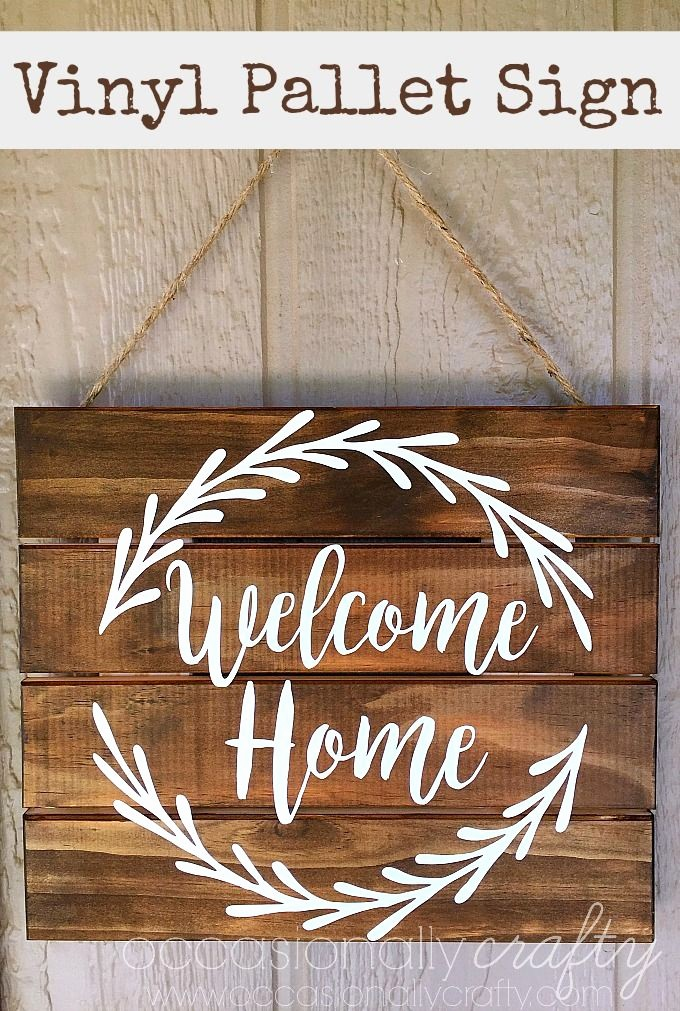"Free Printable Welcome Home Signs Lovely Vinyl ""wel E Home"" Pallet Sign Free Silhouette Cut"