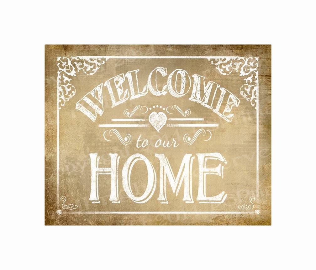 Free Printable Welcome Home Signs Unique Printable Wel E to Our Home Vintage Sign Diy Instant