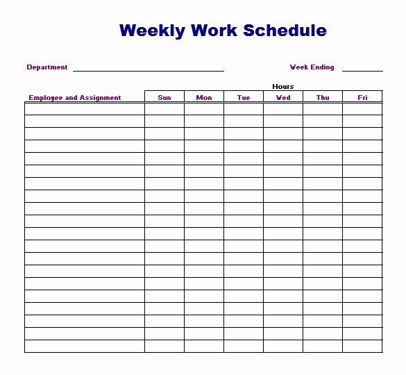 Free Printable Work Schedule Templates Beautiful Weekly Work Schedule Template 8 Free Word Excel Pdf
