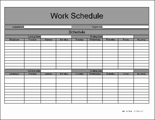 Free Printable Work Schedule Templates Elegant Free Work Schedule Template