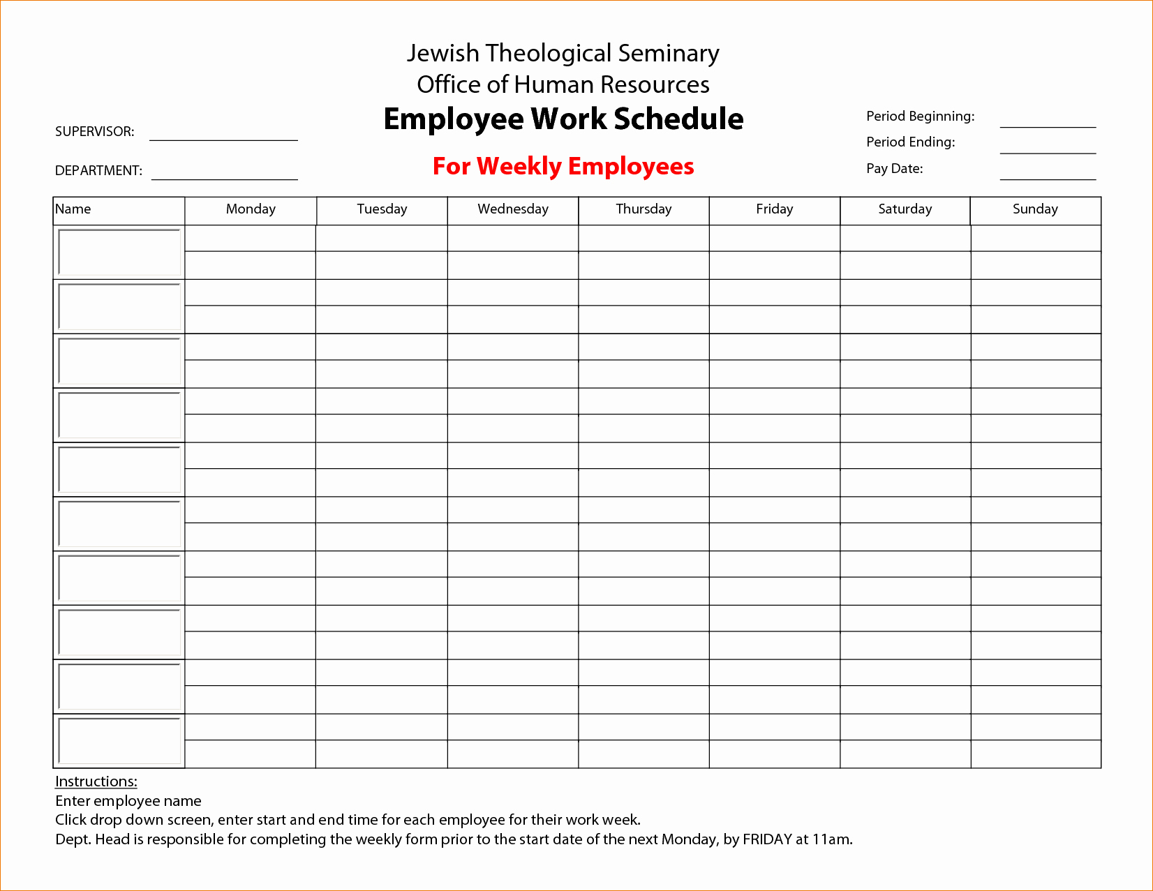 Free Printable Work Schedule Templates Fresh 3 Printable Work Schedule
