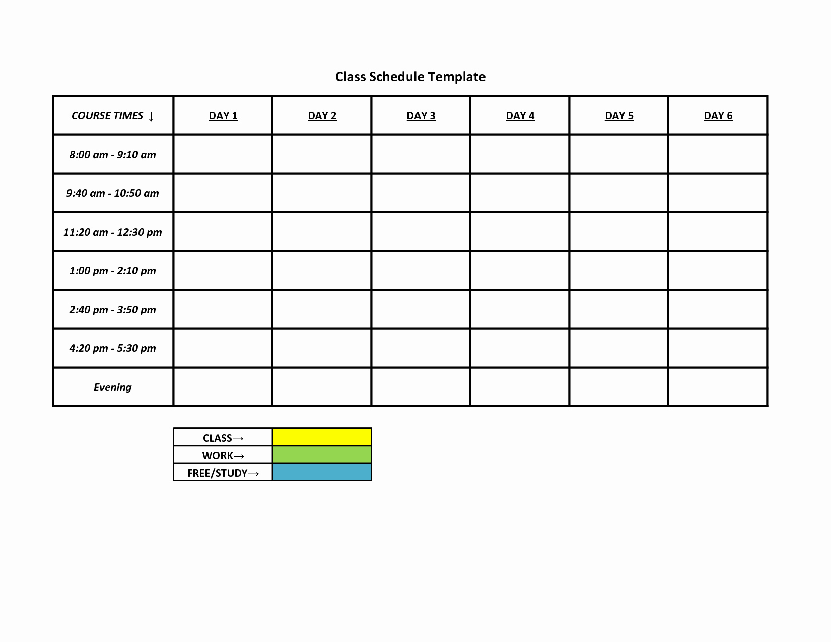 Free Printable Work Schedule Templates Fresh 6 Best Of Free Printable Class Schedule Template