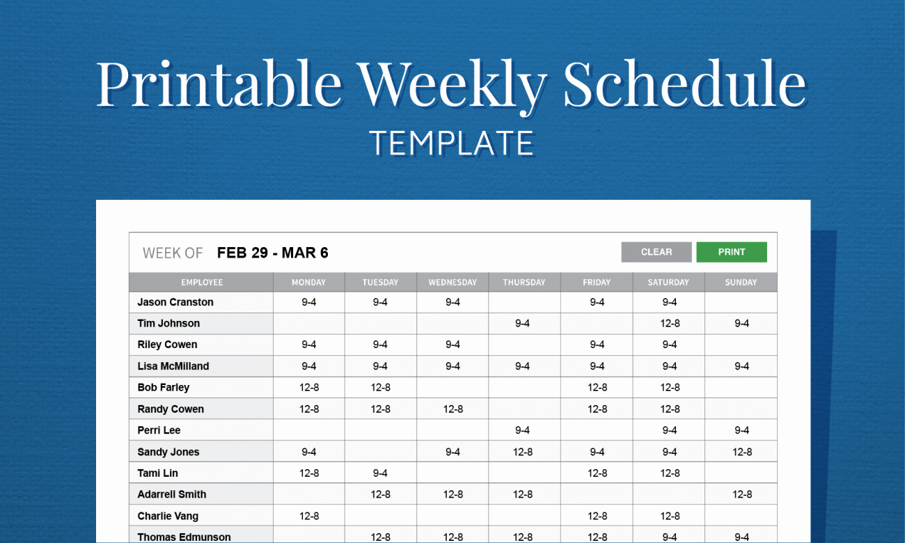 Free Printable Work Schedule Templates New Free Printable Weekly Work Schedule Template for Employee