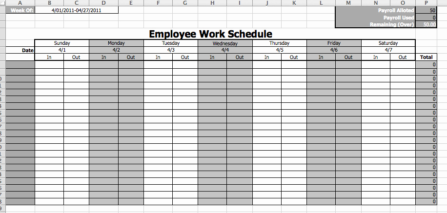 Free Printable Work Schedule Templates Unique 8 Best Of Printable Employee Work Calendar Template