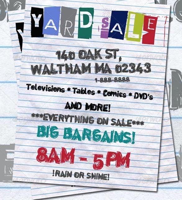 Free Printable Yard Sale Flyers Fresh 21 Best Yard Sale Flyer Templates & Psd Word Eps