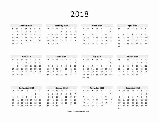 Free Printable Yearly Calendar 2018 Awesome 2018 Calendar Free Printable Allfreeprintable