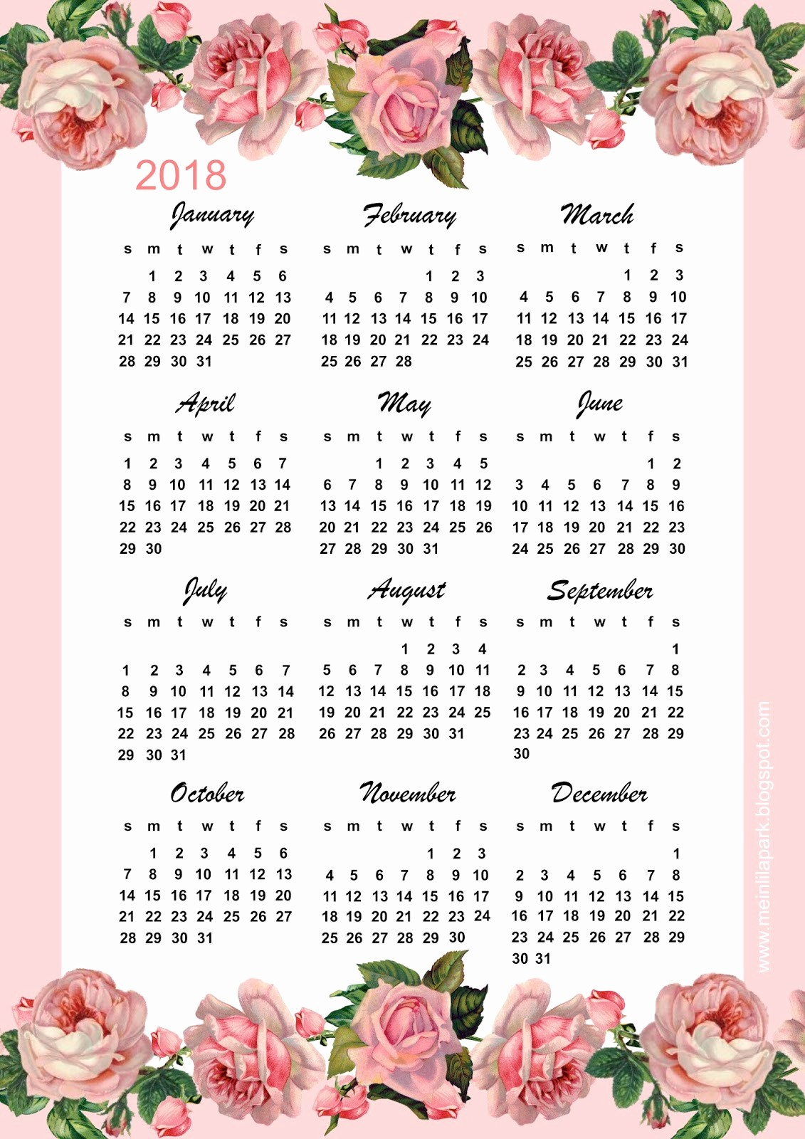 Free Printable Yearly Calendar 2018 Awesome Free Printable 2018 Rose Calendar – Year at A Glance