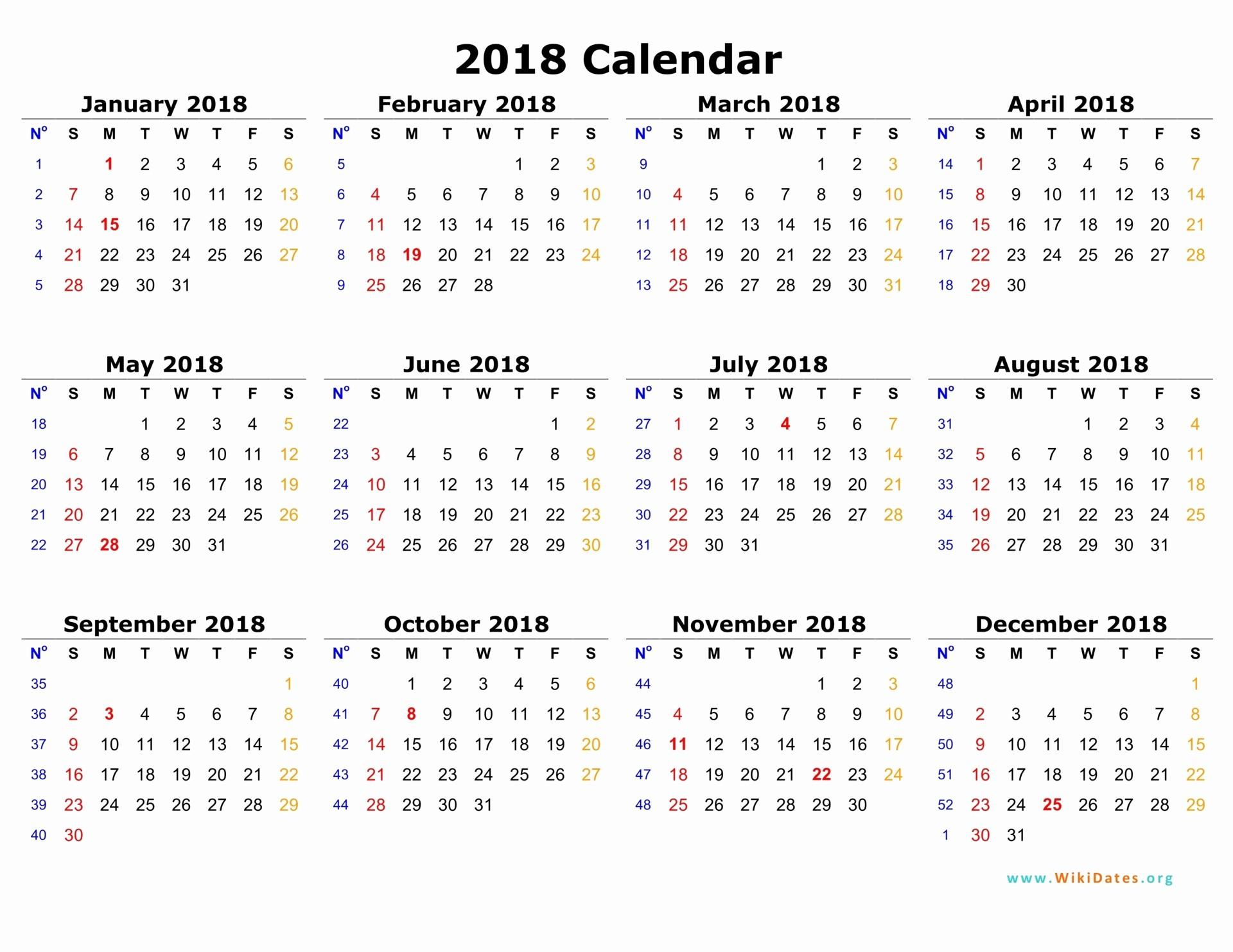 Free Printable Yearly Calendar 2018 Beautiful 2018 Calendar