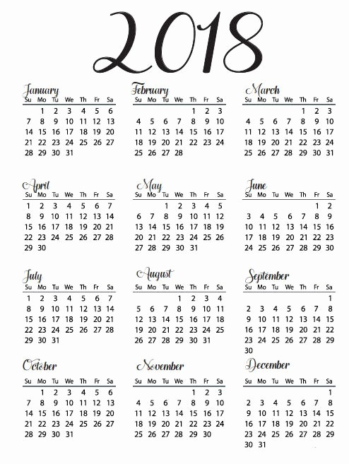 Free Printable Yearly Calendar 2018 Best Of Free Printable Calendar 2018 with Holidays