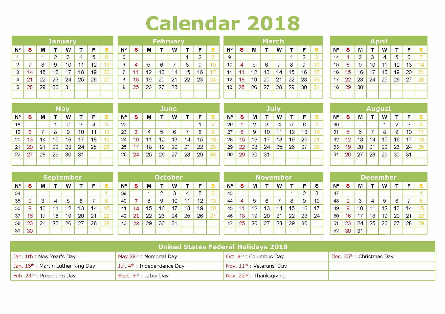 Free Printable Yearly Calendar 2018 Best Of Yearly Calendar 2018 Printable