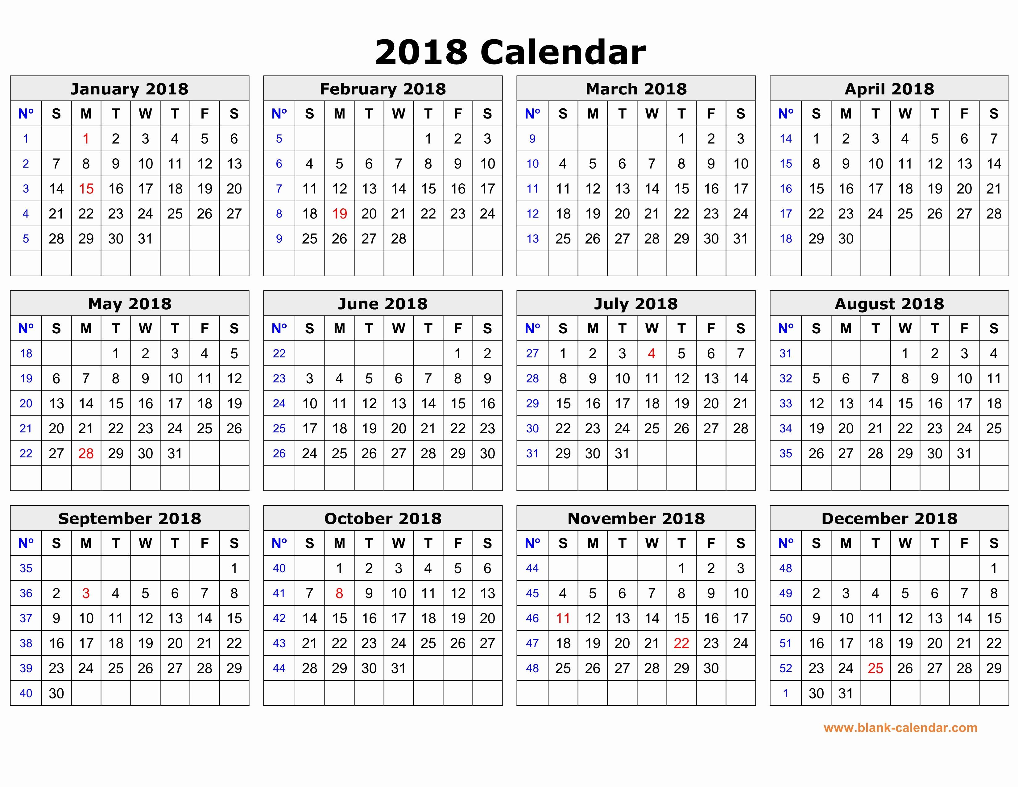 Free Printable Yearly Calendar 2018 Elegant Free Download Printable Calendar 2018 In One Page Clean