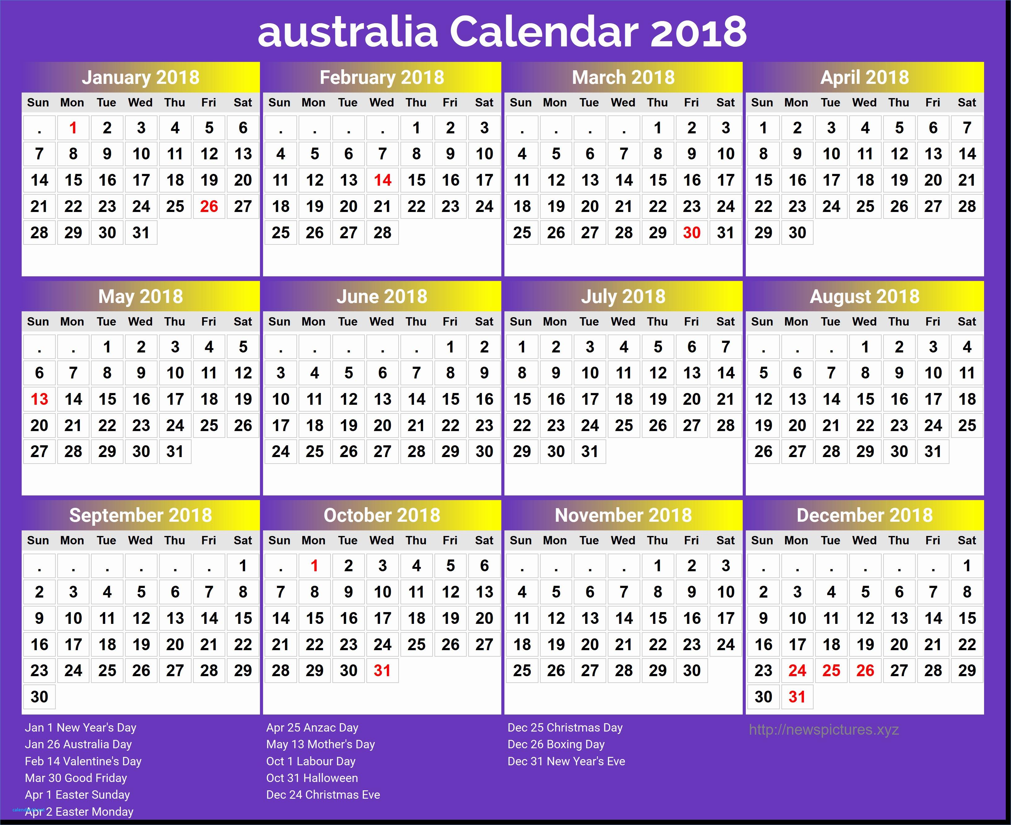 Free Printable Yearly Calendar 2018 Elegant Luxury Free Printable Yearly Calendar 2018 with Holidays