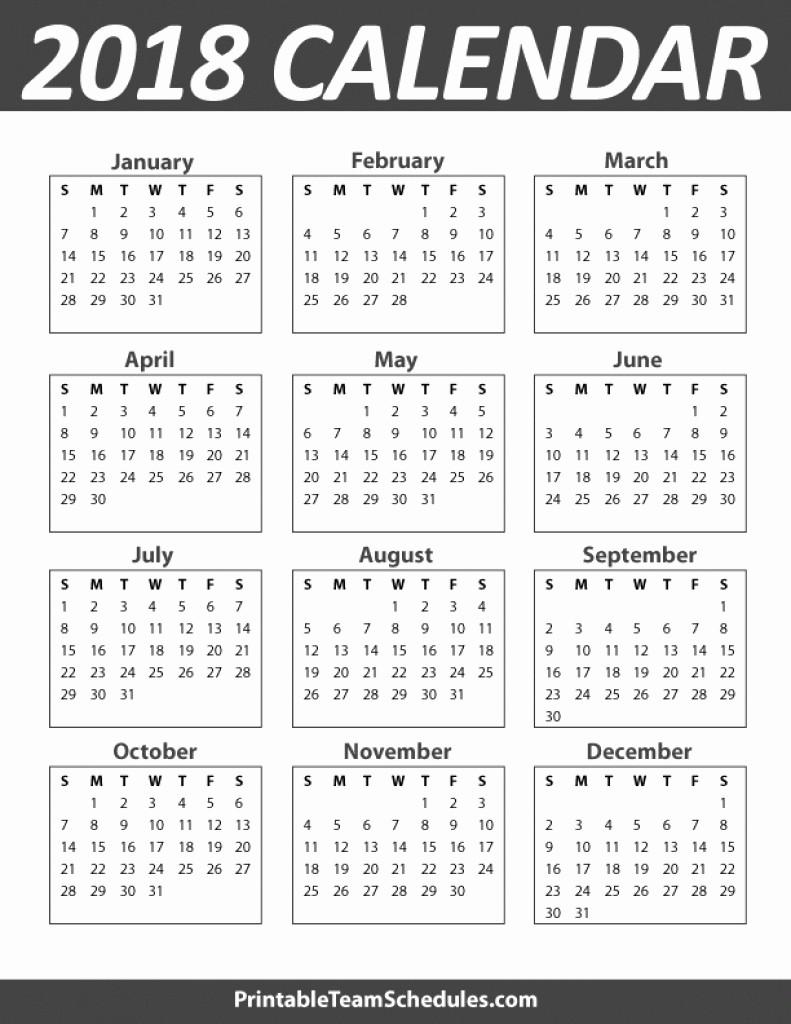 Free Printable Yearly Calendar 2018 Fresh 2018 Yearly Calendar Printable