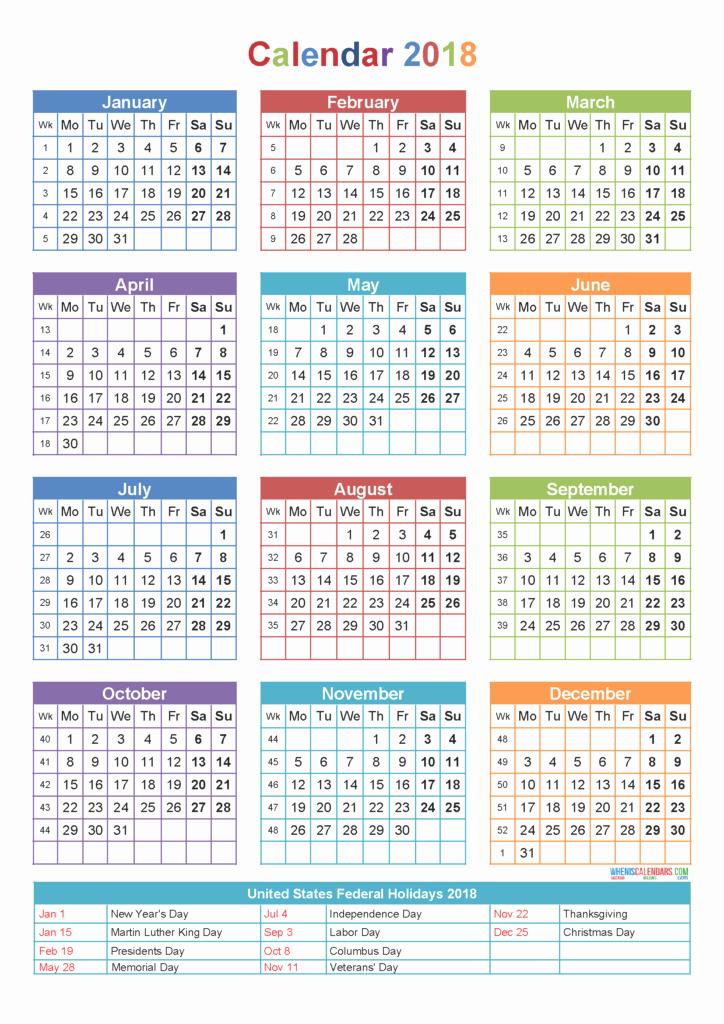 Free Printable Yearly Calendar 2018 Fresh New Year 2018 Calendar Download New Year 2018 Printable