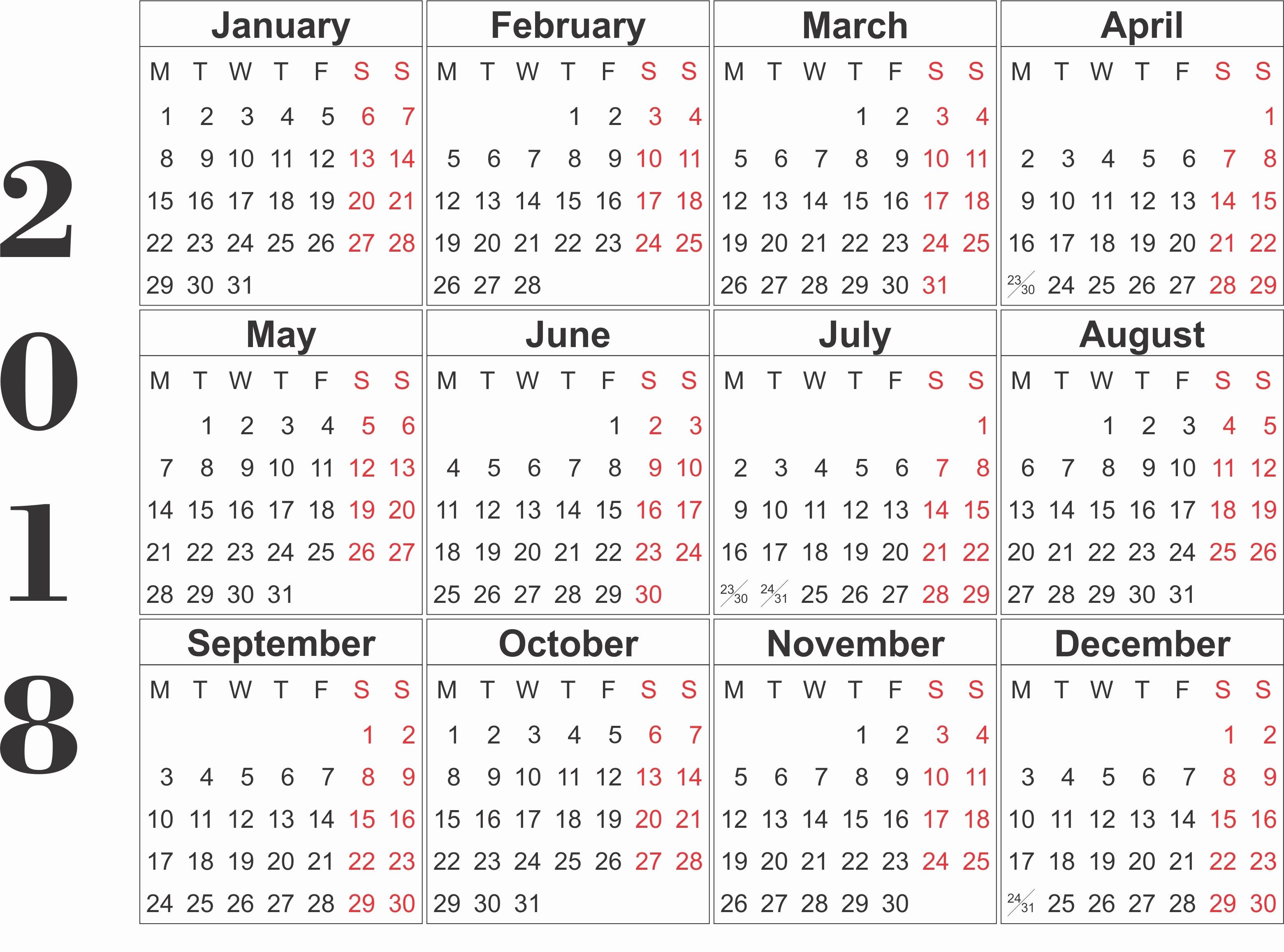 Free Printable Yearly Calendar 2018 Fresh Printable Calendar 2018