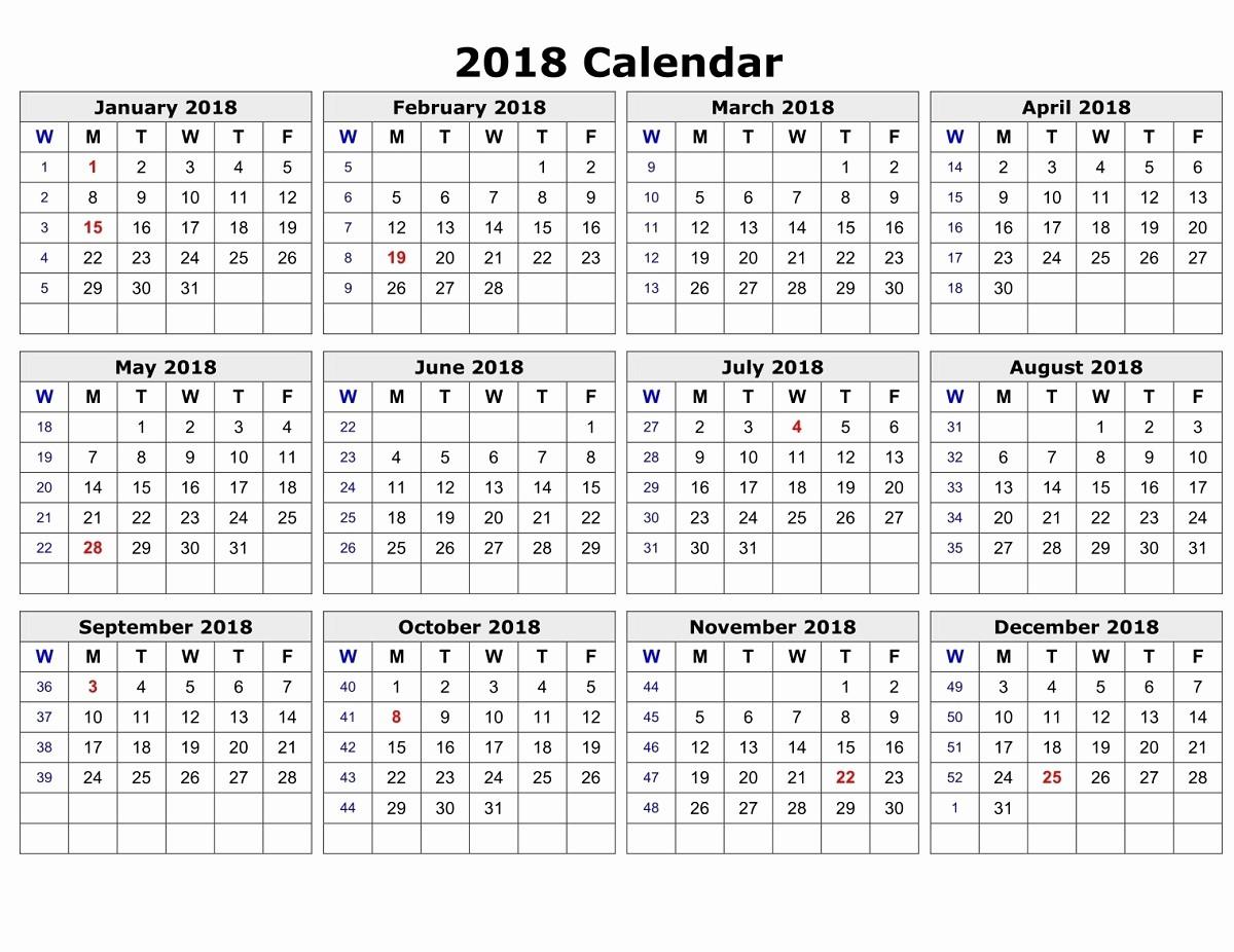 Free Printable Yearly Calendar 2018 Fresh Yearly Calendar 2018 Printable