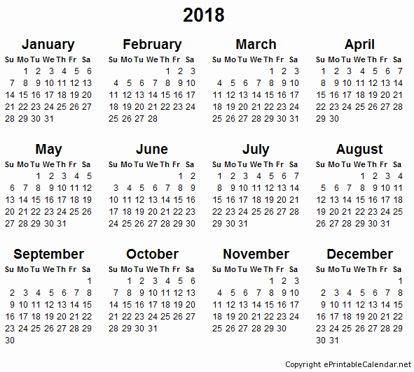 Free Printable Yearly Calendar 2018 Inspirational Blank Monthly Calendar 2018