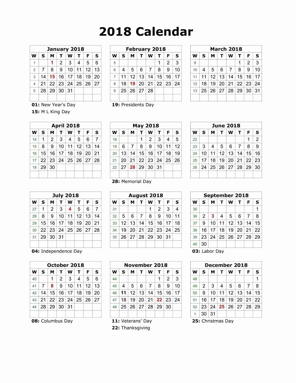 Free Printable Yearly Calendar 2018 Lovely 2018 Printable Calendar Year Free